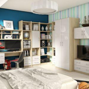 Modne meble na wysoki połysk mogą zdobić również pokój dziecka. Na zdjęciu kolekcja Nordic w wersji młodzieżowej. Fot. FM Bravo