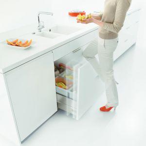 Praktyczna, głęboka szuflada pod kuchenny zlew jest idealnym miejscem na przechowywanie kosza na śmieci. Fot. Blum