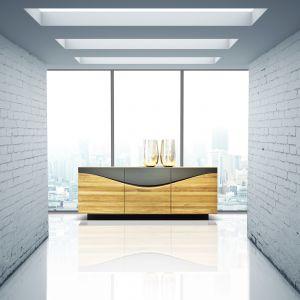 Komoda Derwal. Drewniana konstrukcja została zestawiona z chłodną barwą antracytu. Jest to nowoczesna komoda, która doda każdemu wnętrzu ekstrawagancji. Fot. Klose