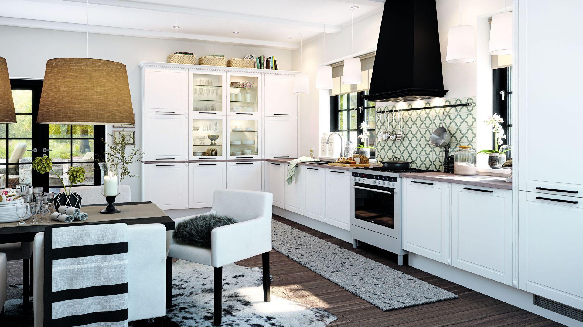 Kuchnia marki HTH. Jeśli dysponujemy niewielką przestrzenią lepiej zdecydować się na białe meble, jednak czerń również może pojawić się w postaci subtelnych akcentów jak dodatki, czy sprzęty AGD. Fot. HTH