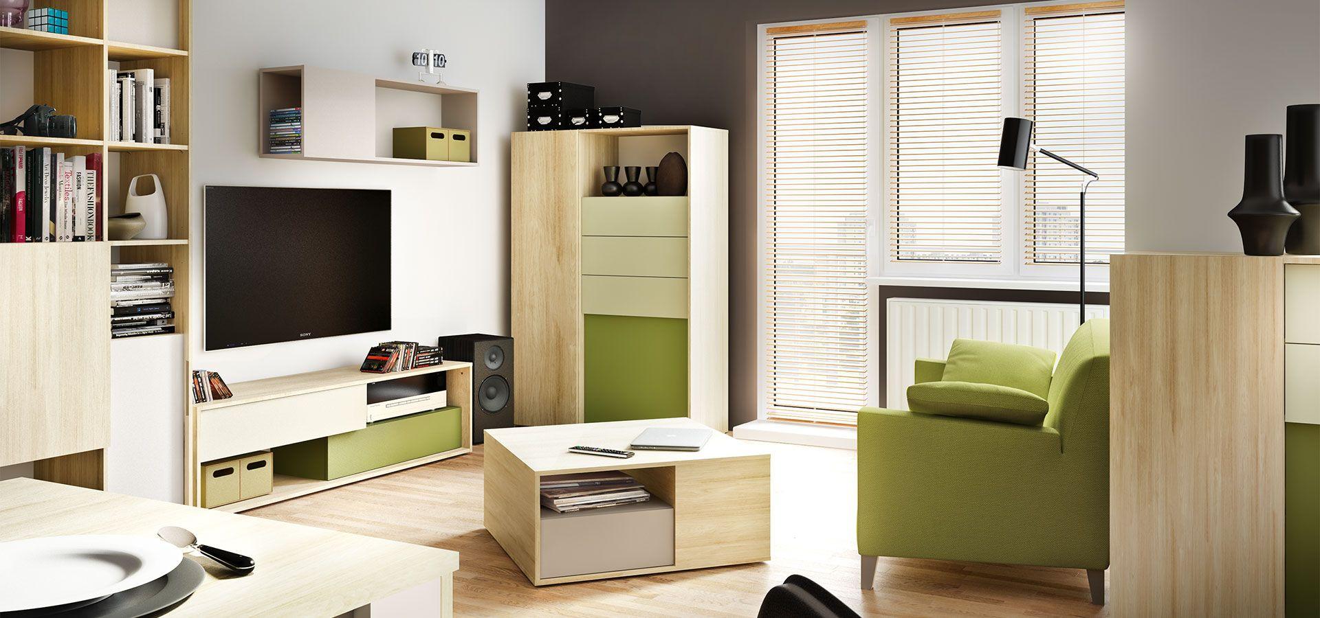System mebli do salonu 3d by Vox to nie tylko biel połączona z drewnem, ale również z soczystym kolorem zielonym. Całość tego połączenia tworzy ciekawą kompozycję, która z pewnością ożywi każde pomieszczenie. Fot. VOX