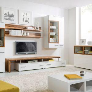System Dolomit to nowoczesne podejście do klasycznej meblościanki, dzięki zastosowaniu połączenia drewna i białych frontów. Szczególnie ciekawe są przeszklone elementy, które zostały obudowane drewnianymi ramkami. Nietypowym segmentem jest także dolna półka, która może posłużyć do postawienia na niej TV. Fot. BRW