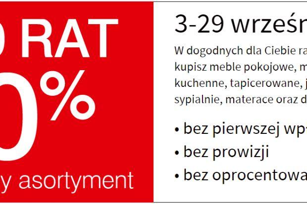 Od 3 do 29 września w salonach Black Red White wdogodnych dla Ciebie ratach 0%kupisz meble pokojowe, młodzieżowe,kuchenne, tapicerowane, jadalnie,sypialnie, materace oraz dekoracjebez pierwszej wpłaty,bez prowizji,bez oprocentowania.