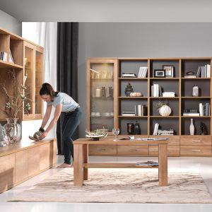 Kolekcja Fado to 31 brył, które można ze sobą dowolnie zestawiać. Dekor, w jakim zostały wykonane (dąb dziki) sprawia, że ustawione w salonie meble będą tworzyły naturalnie ciepły i przyjemny klimat. Fot. Wajnert Meble