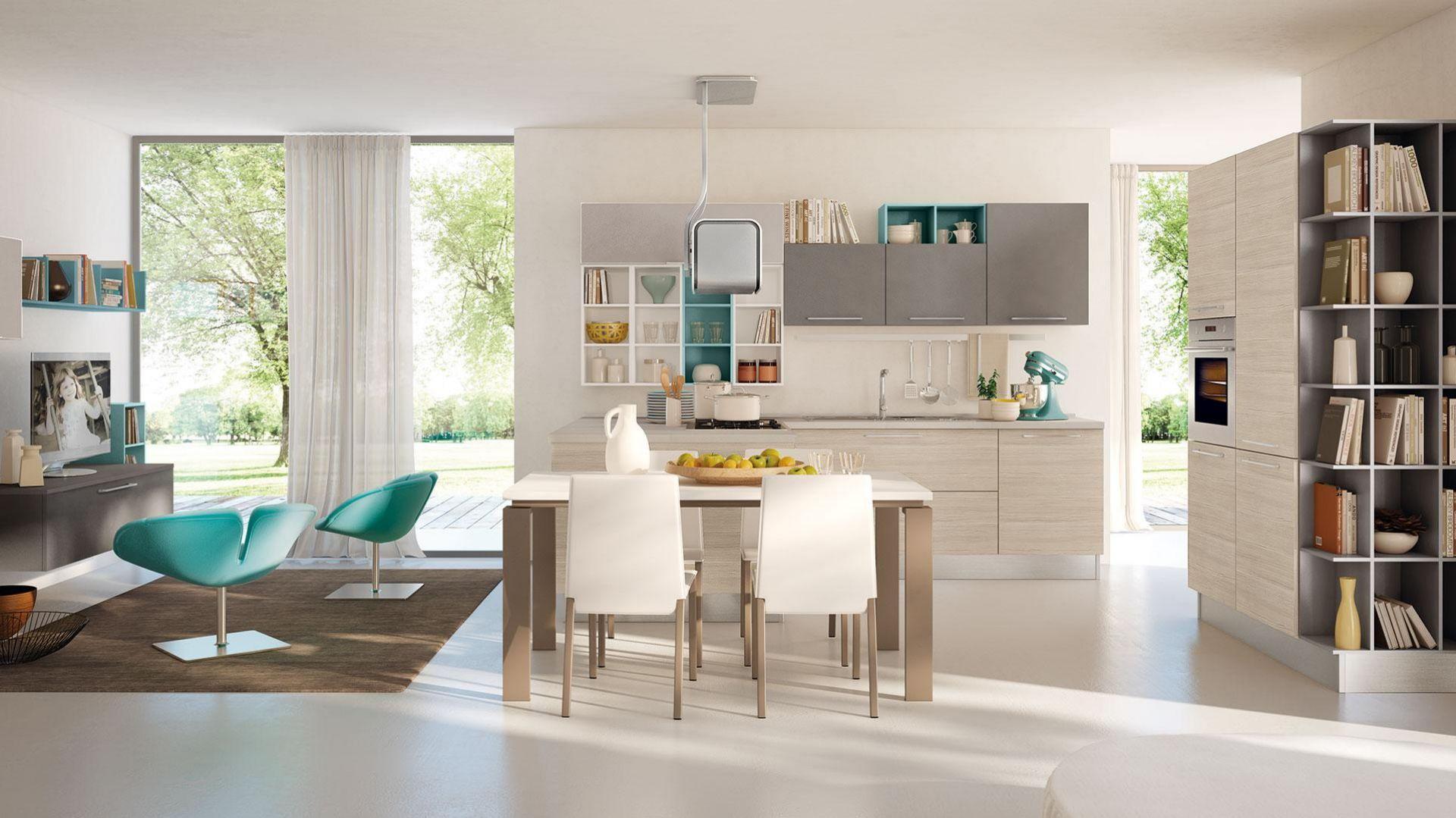 Kuchnia opłączona z salonem. Model