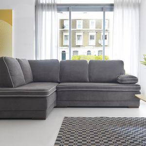 Narożnik Mito ma ciekawe przeszycia na poduszkach, przez co prezentuje się nowocześnie. Fot. Sweet Sit / Gala Collezione