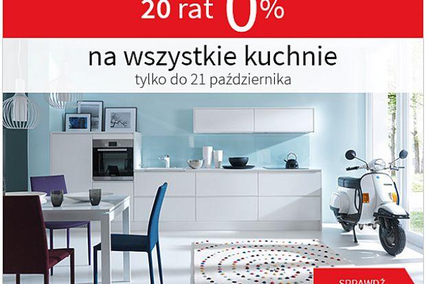 """Promocja """"20 rat 0% na wszystkie kuchnie"""" bez pierwszej wpłaty, bez prowizji, bez oprocentowania trwa od 10.10. do 21.10.2014 r. RRSO kredytu bez ubezpieczenia wynosi 0%. Oferta dotyczy wybranych salonów. Szczegółowy regulamin promocji dostępny j"""