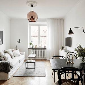 Długi, wąski salon to świetne miejsce dla długiej sofy oraz wąskich, minimalistycznych mebli. Jeśli pokój jest naprawdę niewielki najlepiej zdecydować się na jasne kolory ścian, jak biel czy beże. Fot. Stadshem