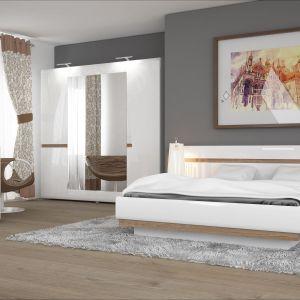 """Sypialnia """"Linate"""" to ciekawa prosta forma, która wzbogacona została o delikatne wstawki drewniane, ocieplające całą kolekcję. Fot. Meble Wójcik"""