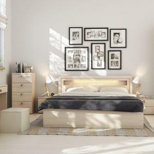 Sypialnia R&O ma ciepły kolor drewna, który sprawi, że sypialnia stanie się przestronna i przytulna jednocześnie. Fot. Meble Vox
