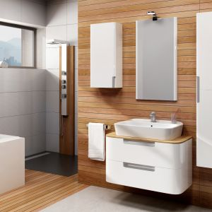 Meble do łazienki Wenus to meble wykonane z giętej płyty MDF, laminowane materiałami o wzorach jednobarwnych i drewnopodobnych. Fot. Devo