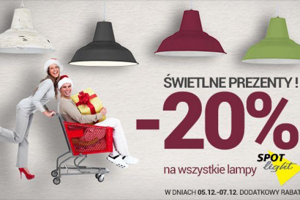 Świetlne prezenty! -20 na wszystkie lampy Spot Light. W dniach 05.12 - 07.12 dodatkowy rabat.