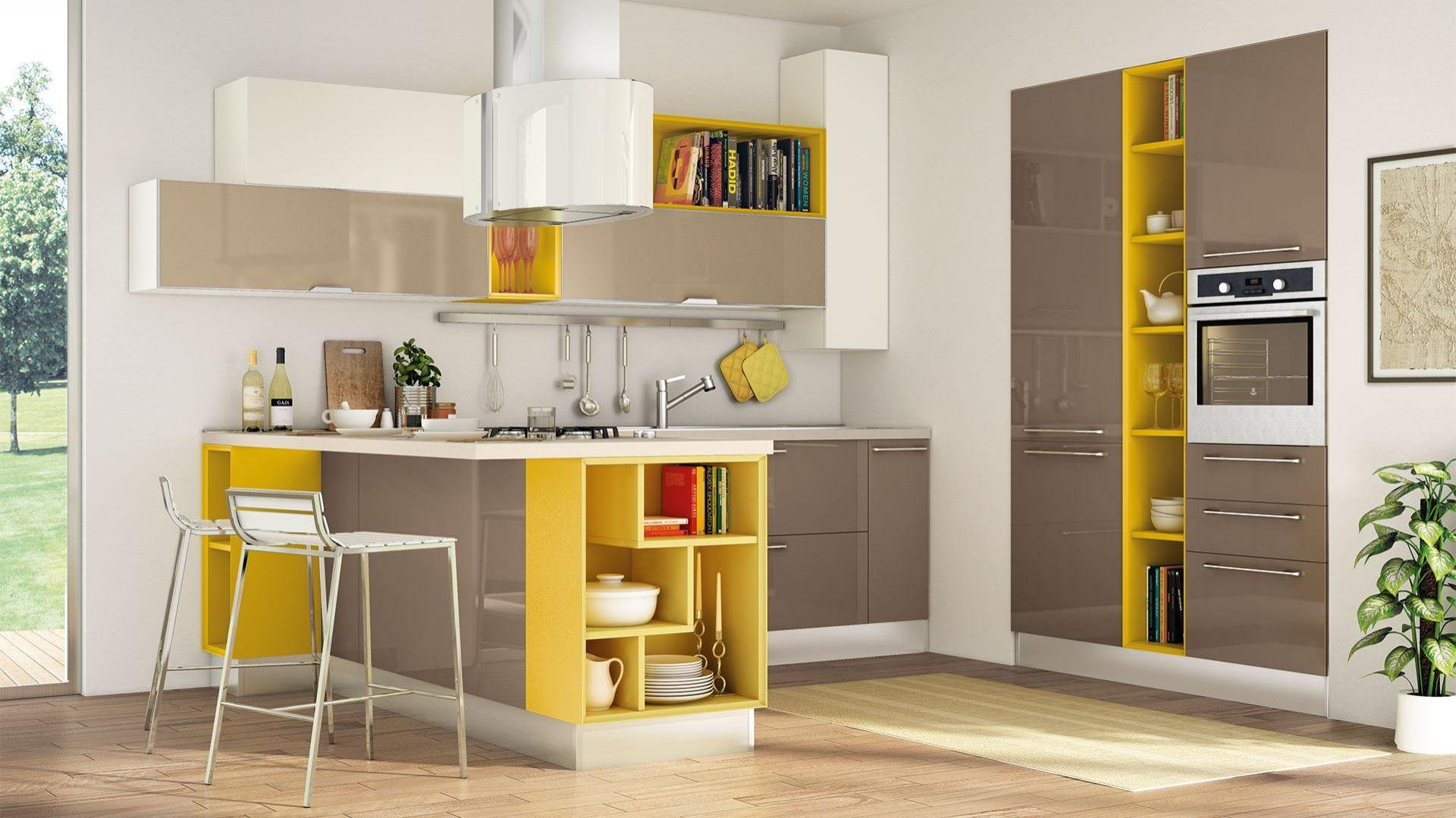 Świetnym sposobem na dodanie odrobiny koloru są otwarte kubiki w szafkach. Meble z kolekcji Noemi firmy Lube Cucine. Fot. Lube Cucine