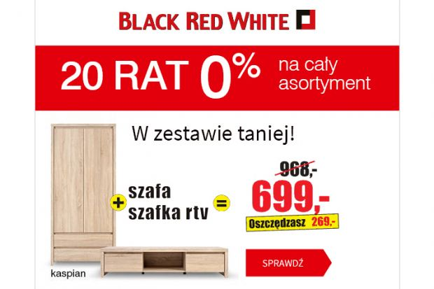 20 rat 0% na cały asortyment w Black Red White