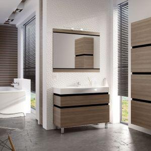 Meble do łazienki Viva wyróżniają się ciepłym dekorem drewna. Fot Devo