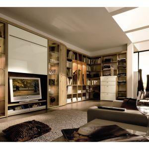 Odkrywasz telewizor wówczas kiedy go potrzebujesz, zaś kiedy jest zbędny, można go ukryć za specjalnie opuszczaną ścianką. Takie możliwości daje system Encado II TV unit. Fot. Hulsta