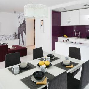 Jeśli zamierzamy połączyć kuchnię z salonem, warto zastosować jeden kolor przewodni w aranżacji kuchni i salonu. Dzięki temu będą spójne. Projekt: Anna Maria Sokołowska. Fot. Bartosz Jarosz