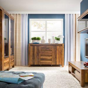 Kolekcja do salonu Orient ma bardzo wyraźnie zaznaczone rysunki drewna. Ciepły kolor drewna sprawi, że wnętrze będzie bardzo przytulne. Fot. BRW