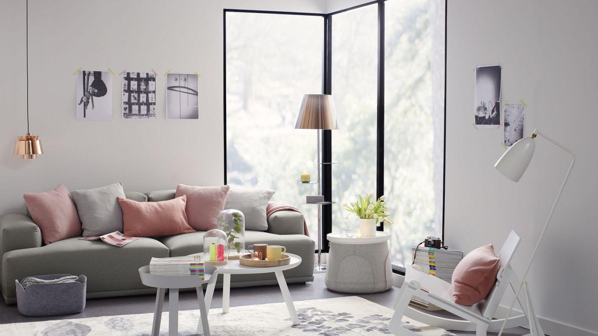 Moda na szare sofy nie przemija. Największym powodzeniem cieszą się modele w jasnych kolorach. Można je szybko ożywić dodatkami, np. pastelowymi poduszkami. Fot. Occa-Home