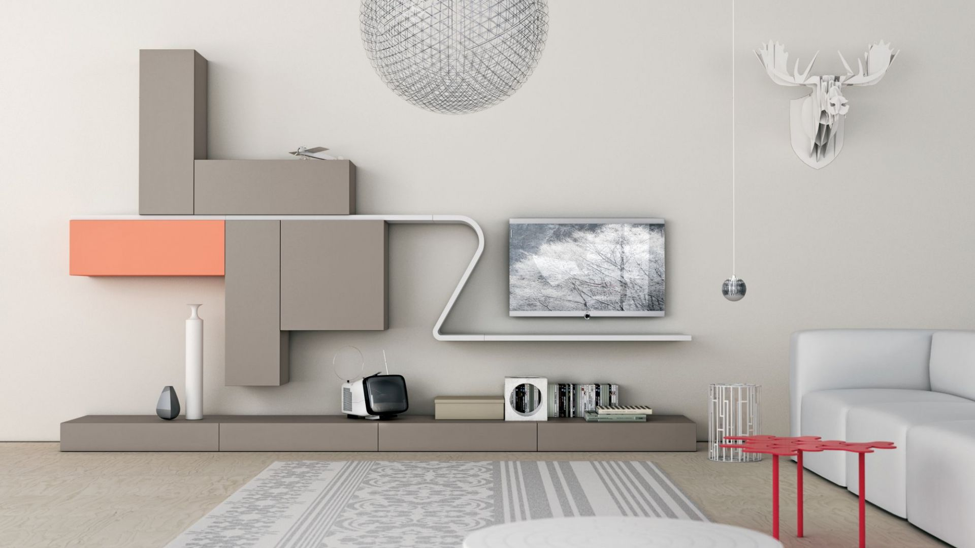 Wejście na rynek wielkowymiarowych, płaskich ekranów TV spowodowało konieczność dostosowania mebli do takiego sprzętu. Dlatego dużym uznaniem i zainteresowaniem cieszą się szafki RTV z tzw. panelem plazmowym. Fot. Go Modern Furniture