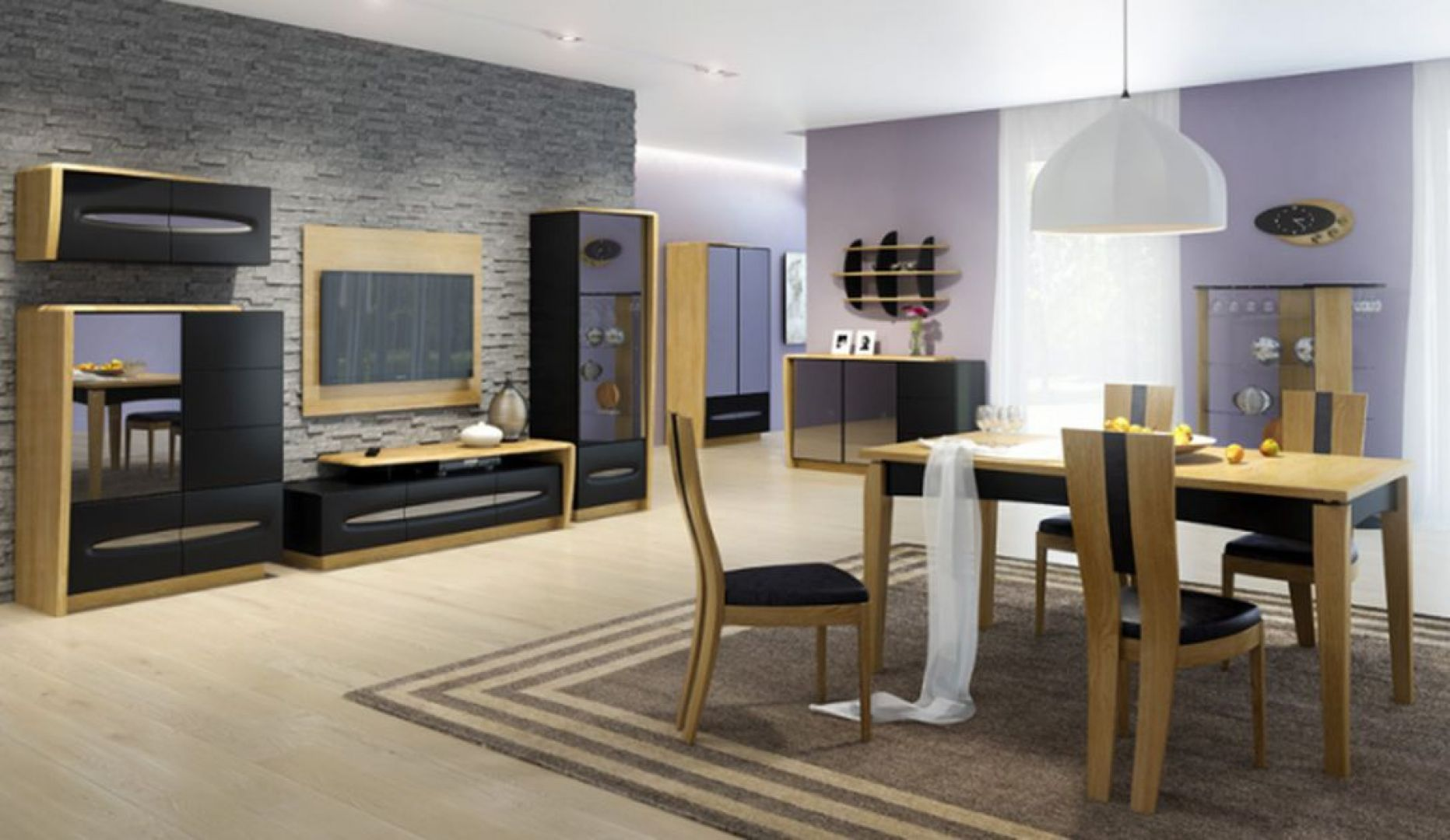 Kolekcja Elisse to eleganckie połączenie delikatnego drewna w karmelowym kolorze ze zmysłową czernią. Dedykowana jest salonom i jadalniom. Fot. Mebin