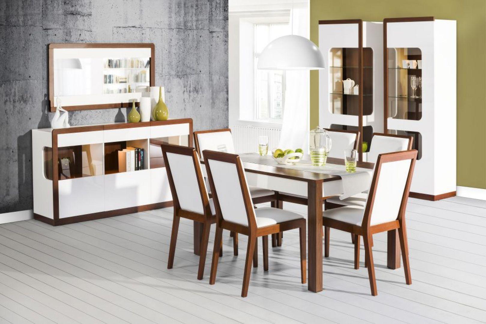 Jadalnia Malta marki Szynaka Meble to nowoczesna propozycja białych mebli ocieplonych elementami drewna. Cena stołu: 549 zł. Cena krzesła: 299 zł. Fot. Szynaka Meble