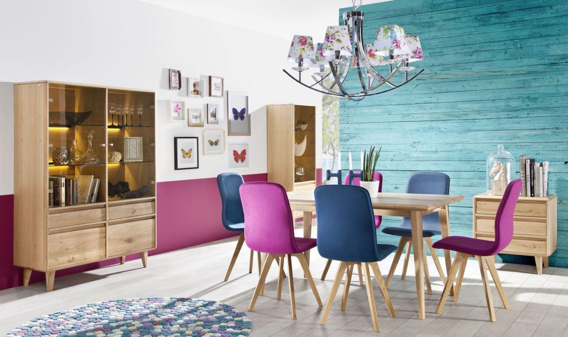 Jadalnia Lovell zachwyca pięknem naturalnego drewna. Dla uzyskania bardziej nowoczesnej stylizacji, połączono je z kolorowymi krzesłami. Fot. Matkowski Meble