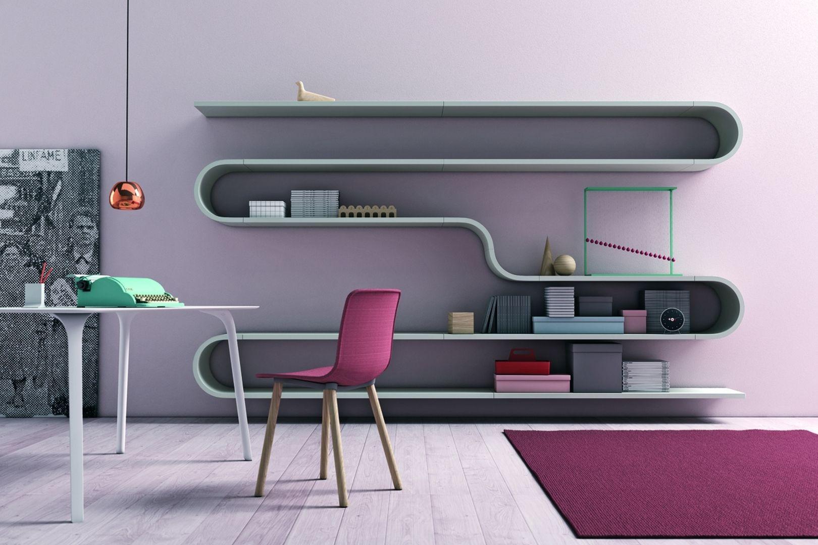 Półki na książki Novamobili Wave. W nowocześnie urządzonym wnętrzu nie ma miejsca na nudę. Lubisz nietypowe aranżacje - ten regał został stworzony dla ciebie. Fot. Go Modern Furniture