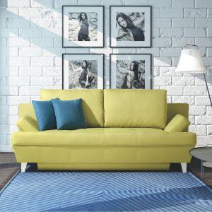 Celano to sofa w modnym aktualnie kolorze oliwkowym. Wyróżnia się także rozłożystą formą. Fot. Meblomak