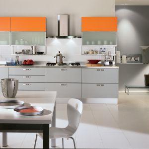 Otwarte półki świetnie organizują kuchenną przestrzeń. Kuchnia wygląda wówczas jak profesjonalne miejsce pracy. Gospodyni przygotowująca posiłek może szybko sięgnąć po znajdujące się pod ręką akcesoria oraz przyprawy. Jeśli obawiamy się kurzu na półkach, zastosujmy szafki z matowym szkłem. Fot. HTH