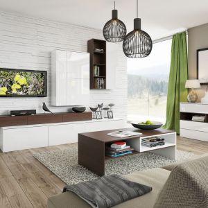 System Loft to modne połączenie dekoru drewna oraz bieli na wysoki połysk. Intrygującym elementem kolekcji jest asymetryczna szafka RTV oraz moduły do zawieszania na ścianie. Fot. Szynaka Meble