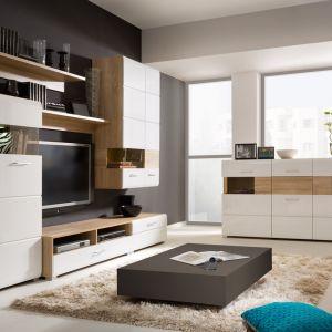 Biel i drewno to rewelacyjne zestawienie. Dzięki nim salon wygląda świeżo i nowocześnie. Fot. Black Red White