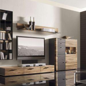 Kolekcja Cando to nowoczesne meble do salonu o mocno zarysowanych słojach. Połączenie z ciemnym materiałem dodaje im elegancji. Fot. Kler