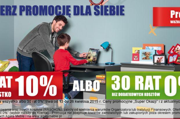 Wybierz promocję dla siebie w Agata Meble! Rabat 10% na wszystko albo 30 rat 0% bez dodatkowych kosztów. Oferta ważna do 26 kwietnia.