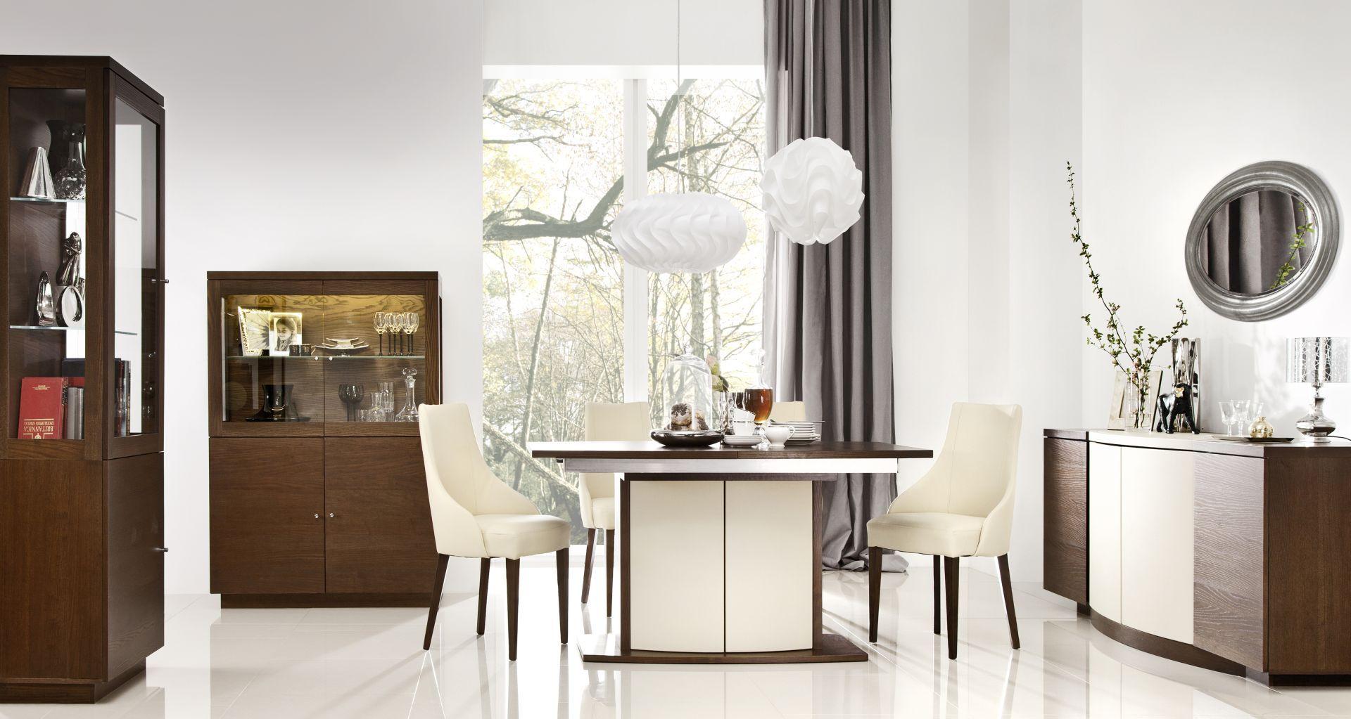 Jadalnia z kolekcji Elisse to jasne barwy zamknięte w eleganckich bryłach. Ciekawym elementem kolekcji jest dekoracyjna noga stołu. Fot. Bydgoskie Meble