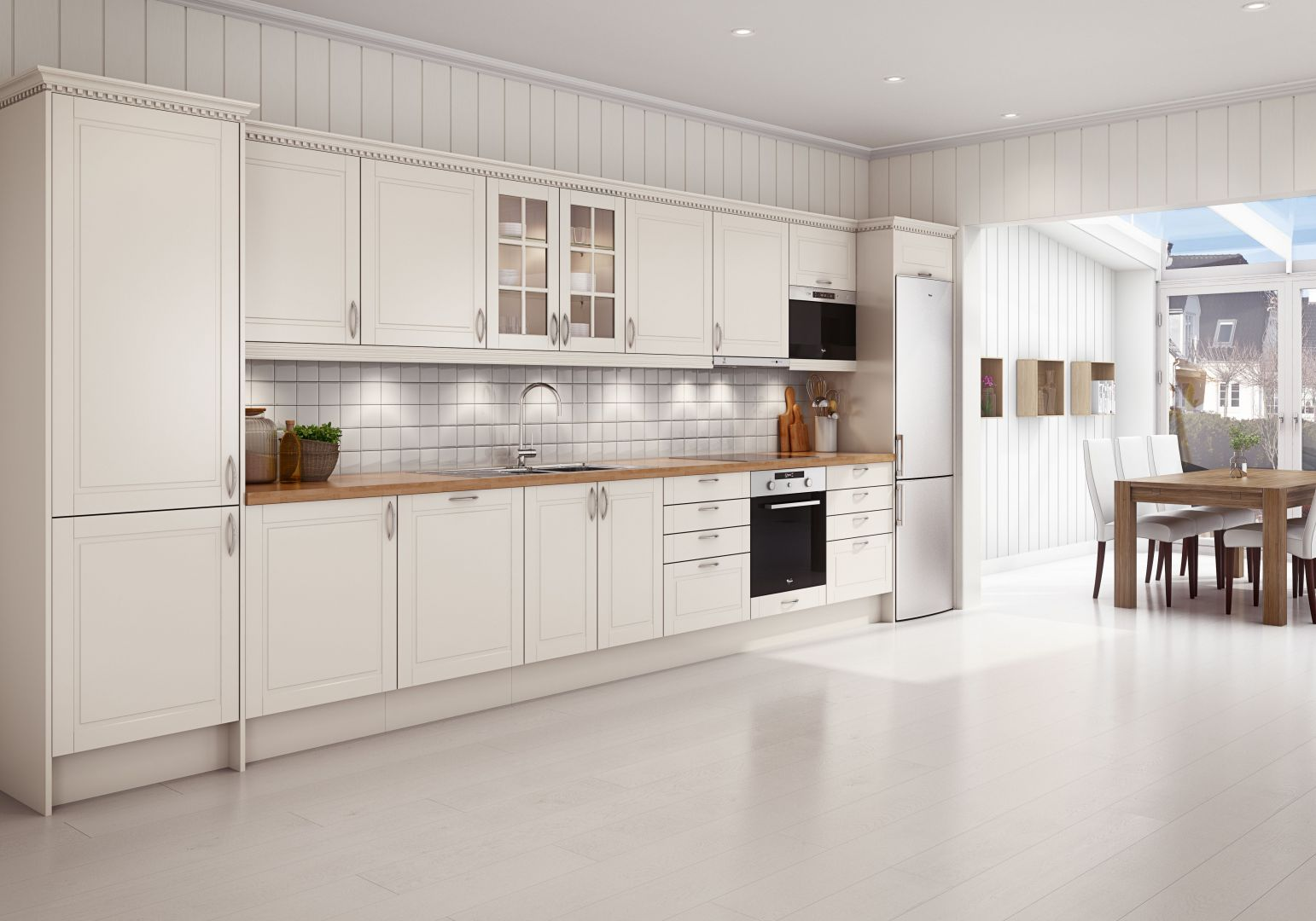 Zabudowa jednorzędowa to propozycja doskonała do małych mieszkań lub kuchni otwartych na salon. Warto jednak pamiętać, aby aranżacja korespondowała z wystrojem salonu. Na zdjęciu kuchnia Bello. Fot. Sigdal