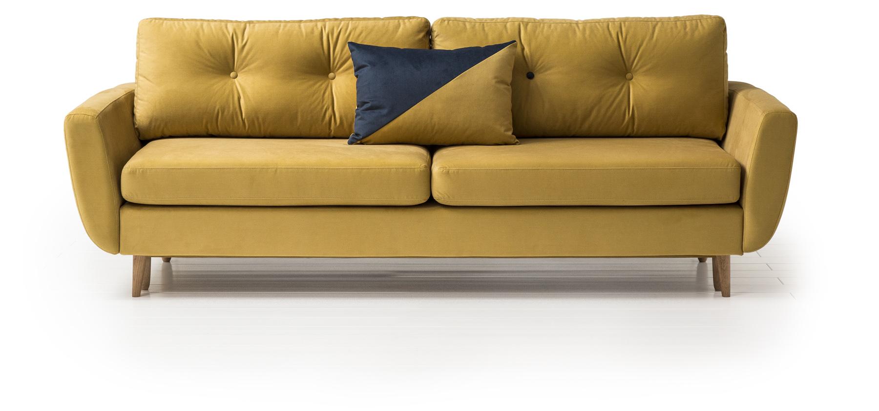 Sofa Harris posiada spory pojemnik na pościel i rozkłada się, tworząc wygodne miejsce do spania. Fot. Agata Meble
