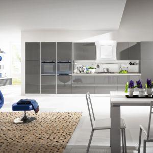 Zestawienie szarości w połysku i bieli jest zawsze na czasie.  Kuchnia Lucenta Matita. Fot. Home Kitchens