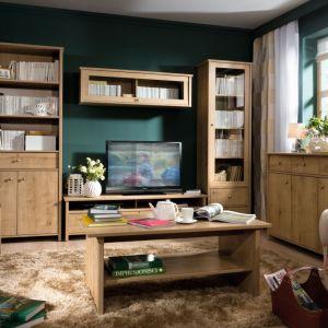 Kolekcja do salonu Porto w wybarwieniu dąb naturalny burlington. Klasyczna, ale też bardzo elegancka. Fot. Black Red White
