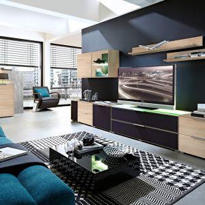 Meble do salonu Median to propozycja dla osób, które chcą stworzyć nowoczesny i funkcjonalny kącik telewizyjny. Fot. Black Red White