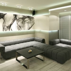 Jednym z najważniejszych elementów nowoczesnego salonu, jest oświetlenie. Dzięki niemu można wykreować wspaniały klimat. Projekt: Dominik Respondek. Fot. Bartosz Jarosz