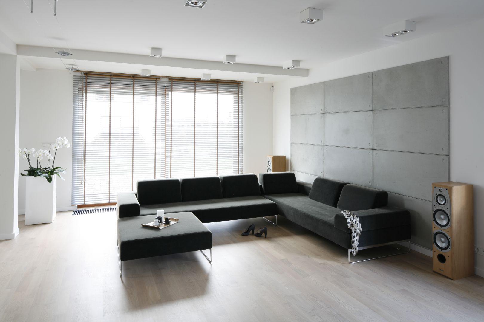 Minimalistyczny salon powinien być urządzony w taki sposób, aby dawał wrażenie jak największej przestrzeni. Doskonale sprawdzą się surowe dodatki, jak architektoniczny beton. Projekt: Agnieszka Ludwinowska. Fot. Bartosz Jarosz