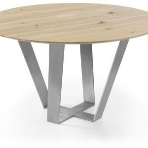 Okrągły stół Sonoro, wykonany z drzewa dębowego, o delikatnym ubarwieniu. Nogi będące podstawą stołu, wykonane są z efektownego matowego metalu. Fot. Congrazio