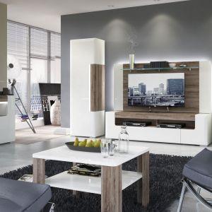 Kolekcja Toronto to meble do salonu w stylu nowoczesnym. Drewno pełni tu rolę dekoracji umieszczonej w tle poszczególnych brył. Fot. Meble Wójcik