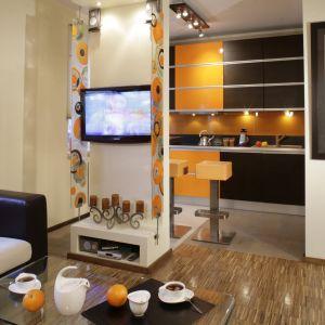 Ciekawym pomysłem na odgrodzenie kuchni od salonu jest ścianka telewizyjna. Projekt: Joanna Waśkowicz-Czajka. Fot. Monika Filipiuk-Obałek