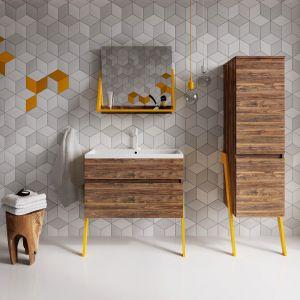 Op-arty to kolekcja mebli łazienkowych inspirowana latami sześćdziesiątymi. Ta czteroelementowa seria przykuwa uwagę charakterystycznym akcentem w postaci ukośnych nóżek. Fot. Deftrans