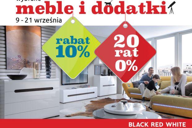 Najnowsza promocja w Black Red White to doskonała okazja do odświeżenia mieszkania. W ramach aktualnej akcji wybrane meble i dodatki można zakupić taniej o 10%. Ponadto płatność można rozłożyć na korzystne 20 rat 0%. Niższe ceny obowiązują