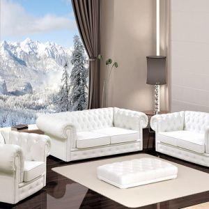 W ramach zestawu Manchester dostępna jest sofa 2 i 3 osobowa oraz fotel. W kanapie 3-os. został zastosowany system rozkładania tzw. automat belgijski. Cena: około 6.300 zł. Fot. Wersal