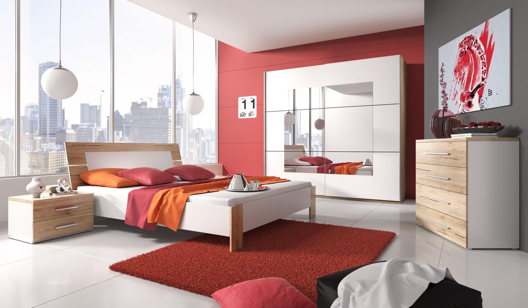 Meble do sypialni Beta w połączeniu dekoru san remo jasne oraz barwy białej. Kolekcja jest nowoczesna, ale nie brak jej też przytulności. Fot. Helvetia Wieruszów