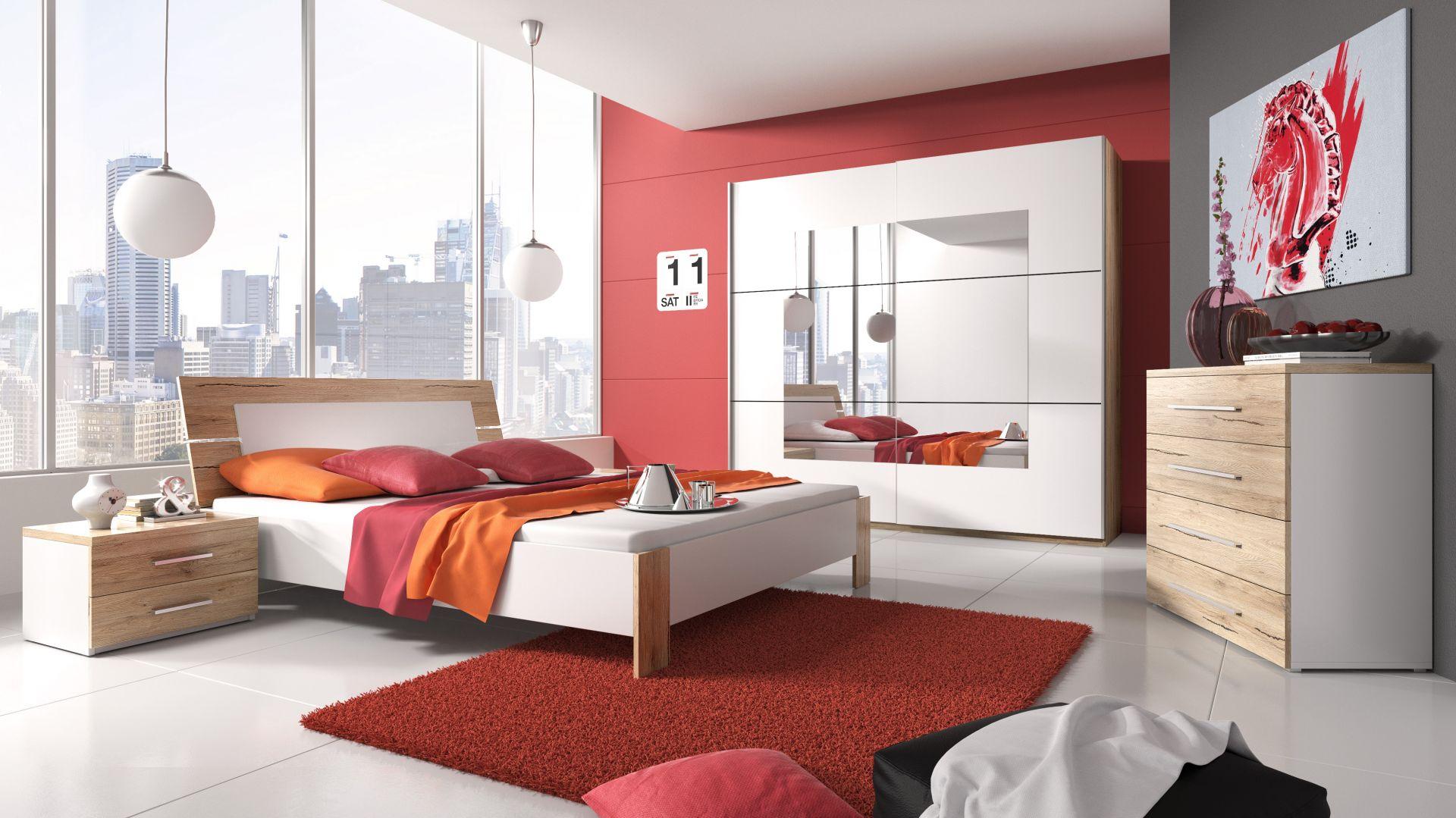Meble do sypialni Beta w połączeniu dekoru san remo jasne oraz barwy białej. Fot. Helvetia Wieruszów